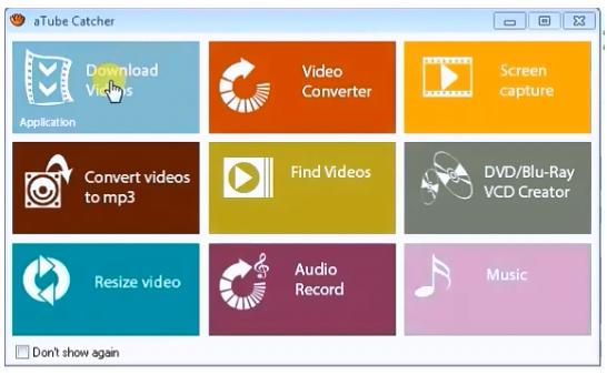Interfaz de aTubeCatcher para descargar música y videos